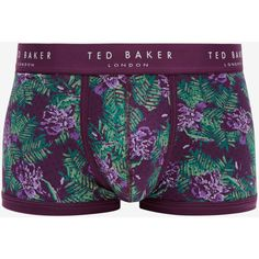 Ted Baker Floral Print Boxer Shorts ($29) ❤ liked on Polyvore featuring men's fashion, men's clothing, men's underwear and purple