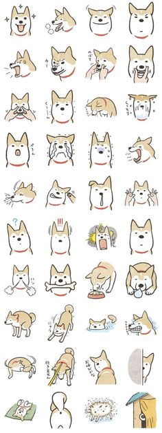 Shiba Inu (Shiba-Dog) stamps Designed by Ichiro. Learn all about the Shiba Inu… Cute Animal Drawings, Cute Drawings, Chien Shiba Inu, Chibi, Funny Animals, Cute Animals, Motifs Animal, Dog Illustration, Art Graphique
