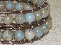 Double Wrap Aqua Terra Jasper & Leather Bracelet by RusticCharm, $40.00