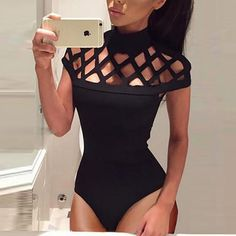 Fashion Caged Hollow Out Bodysuit Romper