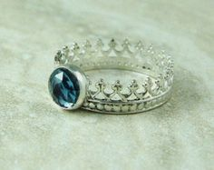 Crown Ring with Rose Cut London Blue Topaz / Ready To Ship Size 6 / Silver Crown with Blue Topaz / Crown Jewels Ring