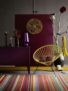 Decorating With Berry Hues and Mustard Colors 45