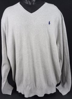 NWT Polo Ralph Lauren Big & Tall Pima Cotton V Neck Sweater 3XB Heather Gray LS #PoloRalphLauren #VNeck