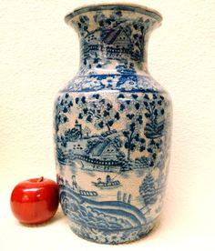 "English Village Blue and White Porcelain Vase 12"""