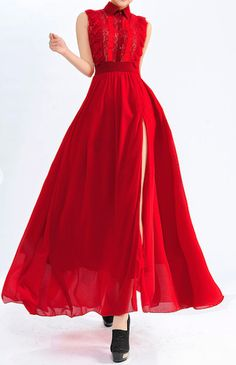 gorgeous #red high slit dress http://rstyle.me/n/hbs6mr9te