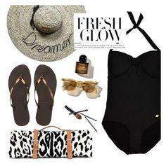 """fresh glow"" by sanddollardubai ❤ liked on Polyvore featuring Maslin & Co., Havaianas, Sunseeker and Guide London"