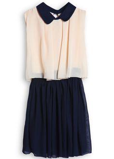 Apricot Contrast Collar Sleeveless Pleated Chiffon Dress $22.30