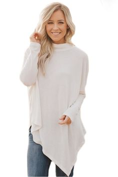 White Soft Faux Poncho High Neck Sweater  style  fashion  boutiquefashion   victoryroze   a01d03f74f5c