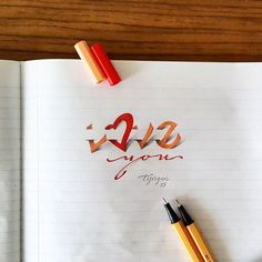 'Love you' 3D Creative Lettering with Colorful Pens.