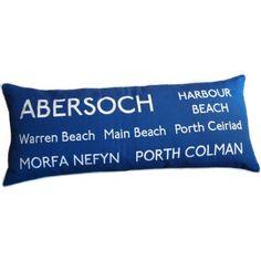Embroidered Abersoch Beaches Destination Cushion