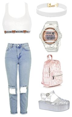 """Untitled #5"" by styledtokill on Polyvore featuring Moschino, Topshop, Baby-G and Vanessa Mooney"