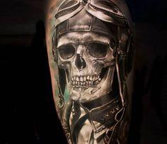 Tattoo photo - Skull pilot tattoo by Iwan Yug Harley Tattoos, Biker Tattoos, Skull Tattoos, Hand Tattoos, Tatoos, Body Tattoos, Tattoo Design Drawings, Skull Tattoo Design, Tattoo Designs