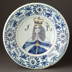 Delft dish, Dish portraying King James II (r. Delft, Blue Plates, China Plates, William And Mary, English Pottery, Winterthur, Ceramic Plates, Antique Plates, British Monarchy