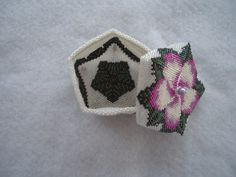 Hand Stitched Pentagon Beaded Flower Box by AcadianGlassArt