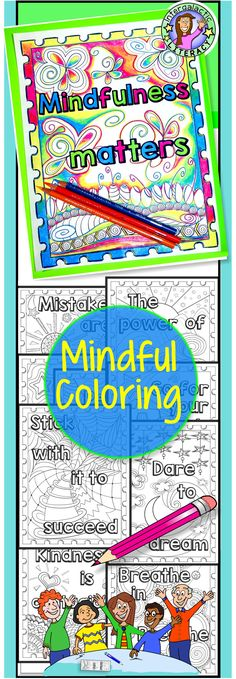 Mindful coloring sheets are a great way to promote positive thinking and a growth mindset. The hand illustrated pages are well suited for elementary age students, although adults are welcome to color, too :-)