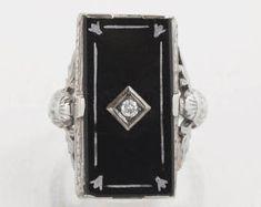 Style Art Déco Noir Onyx filigrane Bague avec 3 Diamant Accents-Argent Sterling