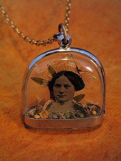 seeds on tintype diorama necklace by Lisa Wood