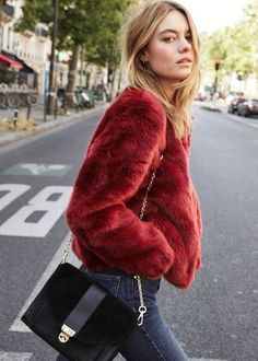 red bear coat and jeans #fallstyle