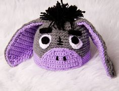 Eeyore Crochet Baby Hat Newborn Photography Prop Grey and Purple Crochet Kids Hats, Crochet Beanie Hat, Cute Crochet, Crochet Crafts, Yarn Crafts, Crochet Cap, Knitted Hats, Yarn Projects, Crochet Projects