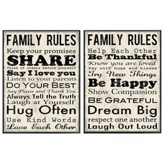 """""""Family Rules"""" wall art"""