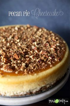 This Pecan Pie Cheesecake recipe will make you the most beautiful cheesecake this fall! It's delicious and fits the season, so serve it for a party or even on Thanksgiving as dessert.