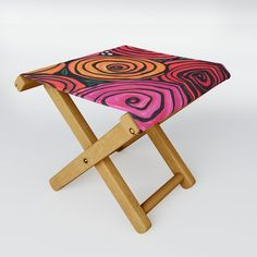 Bowl of Roses Folding Stool by claudineintner Folding Stool, When It Rains, Kick Backs, Stools, Art Decor, Lounge, Outdoors, Colorful, Cold
