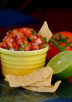 How to make fresh, yummy salsa with ingredients you pick up at the farmers market. Perfect for any summer party!