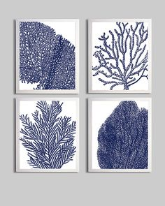 Coral Ocean Beach Cottage Sea Prints Navy White by ZeppiPrints