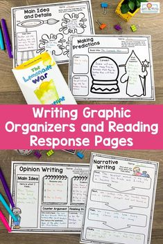 Reading and Writing Graphic Organizers UPPER Elementary Narrative Writing, Informational Writing, Nonfiction, Writing Practice, Writing Skills, Writing Graphic Organizers, 5th Grade Classroom, Reading Workshop, Class Activities