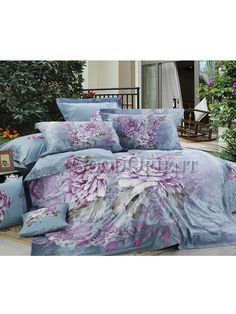 Blue with Purple Peony Bedding Peony Bedding, Asian Decor, Asian Home Decor, Cotton Bedding, Bed Design, Bed, Satin Bedding, Luxury Bedding Sets, Asian Decor Living Room
