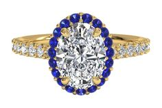 French-set Sapphire Halo Diamond Band Engagement Ring - in Yellow Gold (0.24 CTW)