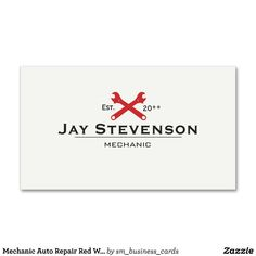 Mechanic Auto Repair Red Wrench Business Card