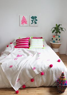 Moroccan Pompom Throw – Neon Pink Berber Motifs -From Baba Souk