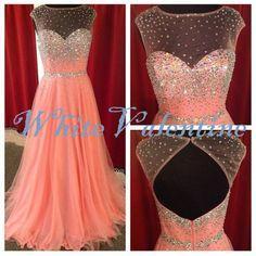 Long Blush Pink Bead Prom Dress Straps Mint by WhiteValentine, $139.00