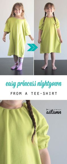 cute! easy to sew DIY princess nightgown is made from a women's tee. All it takes is two seams and a little elastic!