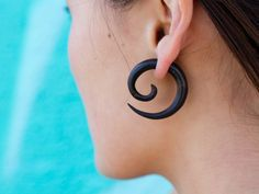 Fake Gauges Large Black Wooden Spirals by TribalStyle on Etsy