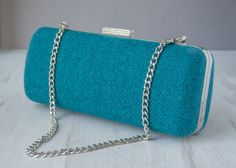 """Harris Tweed clamshell Minaudiere clutch purse with chain,dark teal with Tula Pink """"Elizabeth - 16th Century Selfie"""" cotton lining. by HandbagsandHome on Etsy"""