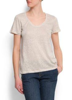 Mango Women's Short Sleeves Linen T-shirt