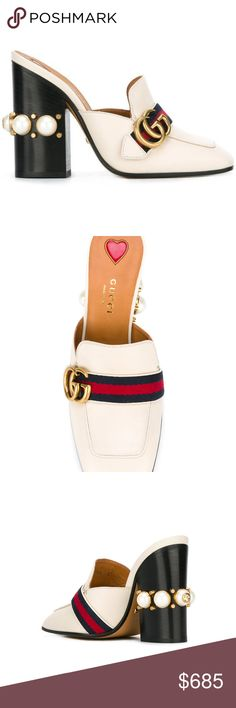 Gucci Gold Buckle Mules Cream Cream leather gold buckle mules from Gucci featuring a chunky high heel, a signature tri-colour striped trim, a double G buckle and a pearl embellishment.  Made in Italy  Original price 1150$+Tax= 1250$ Gucci Shoes Heels