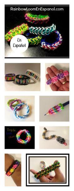 Proyectos y Pulseras de Gomitas Hecha con el telar de Rainbow Loom. http://www.rainbowloomenespanol.com/