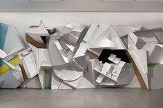Florian Beaudrexel cardboard sculptures, Kneeling Window, 2012