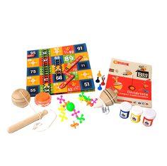 Caja BeeBox Juegos Tradicionales 🎯.  Cada caja de BeeBox incluye 3 o 4 manualidades con los materiales y el instructivo para desarrollar los proyectos, actividades que vas a encontrar en esta caja: Un balero y un trompo para decorar, diviértete con el yo-yo, el catapiz, el toma todo y la escalera.