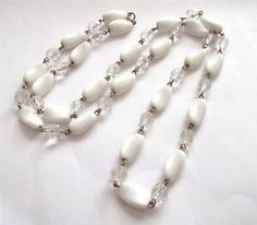 VINTAGE ARTS DECO WHITE MILK GLASS CLEAR FACETED CRYSTAL BEADED NECKLACE BEADS