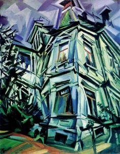 The Corner House (Villa Kochmann, Dresden) by Ludwig Meidner 1913 Museo Thyssen Max Ernst, Jüdisches Museum Frankfurt, Rainer Fetting, Ludwig Meidner, Polish Movie Posters, Degenerate Art, Corner House, Unique Buildings, Heart Art