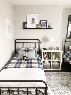 This farmhouse style metal bed works perfect for a kids bedroom. Switching Thi… This farmhouse style metal bed works perfect for a kids bedroom. Switching Things Up in the Boys' Bedroom – Valley + Birch Shared Boys Rooms, Kids Bedroom Boys, Boys Bedroom Decor, Kids Bedroom Furniture, Bedroom Sets, Furniture Showroom, Kids Rooms, Boy Toddler Bedroom, Big Boy Bedrooms