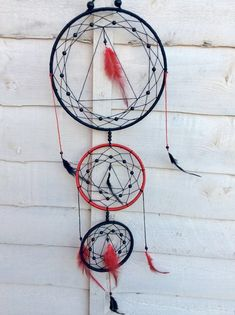 red and black dream catcher, feather wall hanging Etsy Handmade, Handmade Items, Handmade Gifts, Black Dream Catcher, Dream Catchers, Etsy Vintage, Triangle Design, Craft Gifts, Decoration