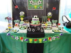 Amazing dessert table at  a soccer birthday party! See more party planning ideas at CatchMyParty.com!