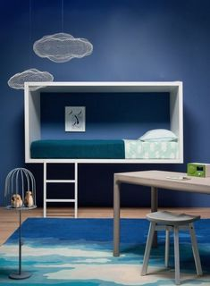 Kid S Rooms Decorating With Plywood Kid S Rooms Decorating With Plywood This Collection Of Modern Playhouses And Kid S Room Furniture Will Inspire You To Have Some Diy Plywood Fun Of Your Own Farbige Wände Moderne Wandfarben Blau Im Kinderzimmer Design A Space, Kids Room Design, Wall Design, Deco Kids, Kid Spaces, Kid Beds, Kids Furniture, Blue Furniture, Bedroom Furniture
