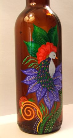 Painted bottle..... It's fantastic to decorate your home if you lighted this or
