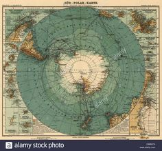 Map of Antarctica and surrounding ocean, and southern regions of Stock Photo, Royalty Free Image: 50010798 - Alamy